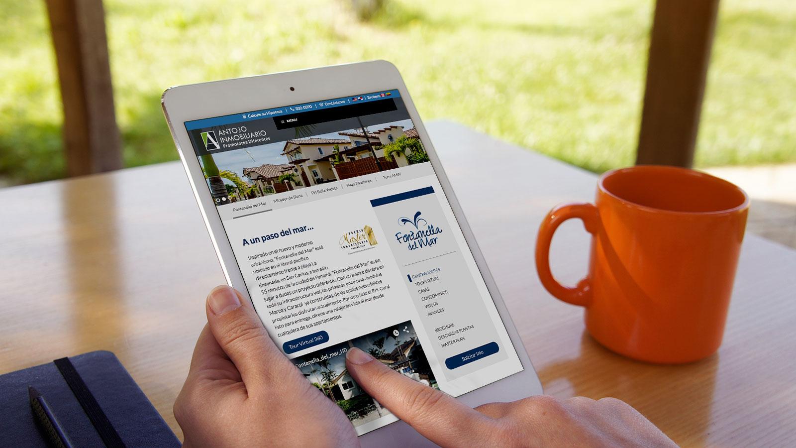 antojo inmobiliario web tablet